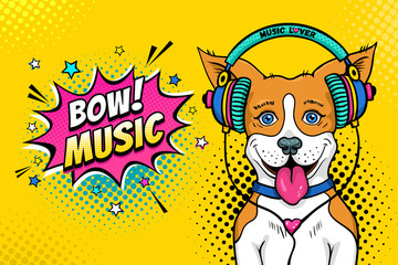 Wow pop art dog face. Funny happy surprised dog with open mouth with tongue in colorful headphones listening to the music and relax Vector illustration in cartoon comic style. Party invitation poster.
