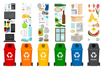 Garbage containers and types of trash