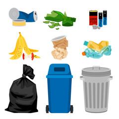 Trash set with garbage bins