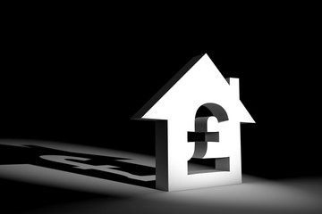 3d illustration house model with currency sign