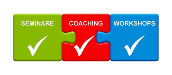 3 Puzzle Buttons zeigen Seminare Coaching Workshops