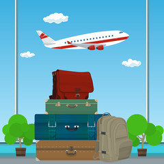 Traveler Luggage on the Background of an Airplane Taking off at the Airport, Travel and Tourism Concept , Vector Illustration