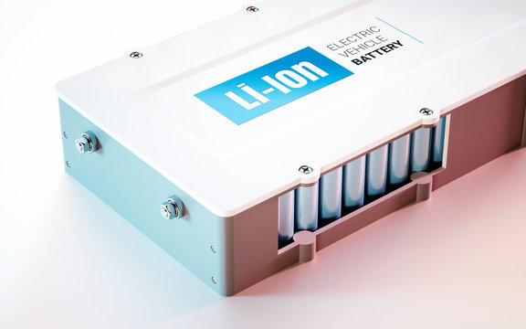 EV (electric vehicle) Li-Ion battery concept. Close up view. 3d rendering.