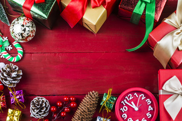 Christmas background with a red ornament, gift box,