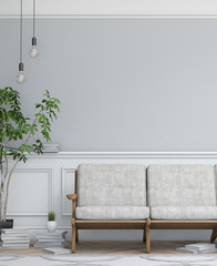 Interior design simple scene. Modern scandinavian interior. 3d render studio.
