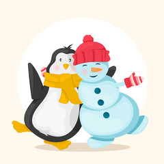 Funny snowman in a red hat and penguin in yellow scarf standing together