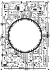 Computer circuit board with copy-space. Vector black illustration isolated on white background.