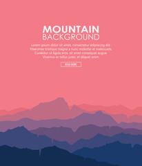 Landscape with blue and purple silhouettes of mountains and hills with beautiful red evening sky. Huge mountain range silhouettes in twilight. Vector vertical illustration.