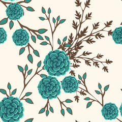 Seamless pattern with cute flowers. Vintage floral ornament for textiles, Wallpaper, packaging. Vector floral background.