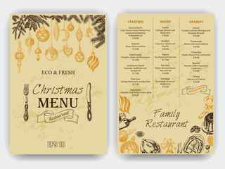 Vector illustration sketch - Greeting cards and holiday design. Vintage Xmas Menu