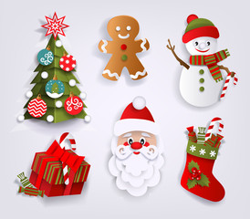 Paper cut set of Christmas decoration elements - tree, boot, Santa, present, gingerman and snowman, flat vector illustration isolated on white background. Flat paper cut set of Christmas decorations