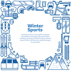 Winter sports background with snow games elements in circle with space for text. Winter activities border frame card with snowboarding, skiing equipment and other icons in line art design.
