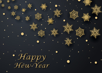 Layout Happy New Year golden and black color space for text Christmas balls, and snowflakes. Golden bokeh, light and ribbons. Vector illustration