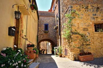 case tradizionali nel vecchio borgo toscano di Bibbona, in Val di Cecina, Livorno Italia