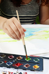 Girl drawing.