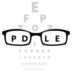 Glasses in front of eye test vector illustration.
