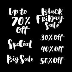 Black friday sale lettering set. Advertising Poster design. Sale Discount Banner Label style. Vector hand drawn illustration