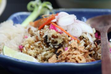 Thai cuisine, fried rice with herbs.