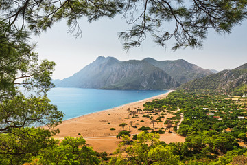 Deurstickers Turkije Aerial panoramic view of one of the most beautiful beaches in the world and Turkey - Cirali or Chirali near Antalya, surrounded by majestic mountains and the Mediterranean Sea