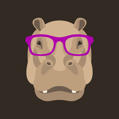 hippo face in glasses vector illustration flat style
