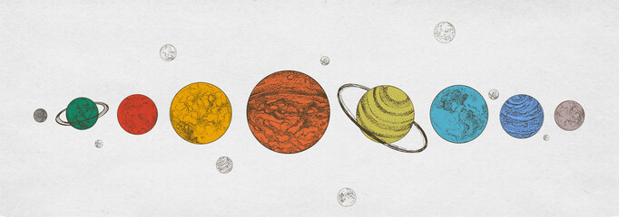 Colorful planets of Solar system arranged in horizontal row against monochrome background. Celestial bodies in outer space. Natural cosmic objects. Gorgeous semi-colored vector illustration.
