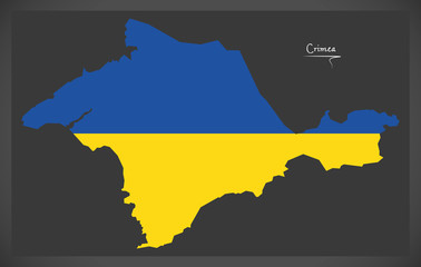 Crimea map of Ukraine with Ukrainian national flag illustration