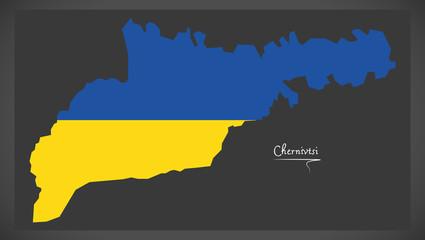 Chernivtsi map of Ukraine with Ukrainian national flag illustration