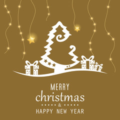 Golden christmas tree gifts background. Merry Christmas happy new year. Christmas tree. Creative Christmas tree. Merry Christmas greeting card.