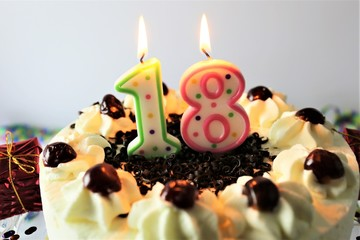 An Image of a birthday cake with candle - 18