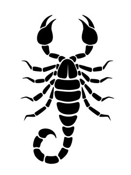 Vector black silhouette of a Scorpio isolated on a white background.