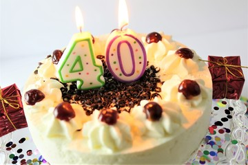 An image of a birthday cake with candle - 40