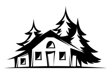 Vector black and white illustration of a house and trees.
