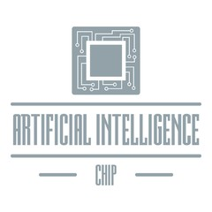 Artificial intelligence logo, simple gray style