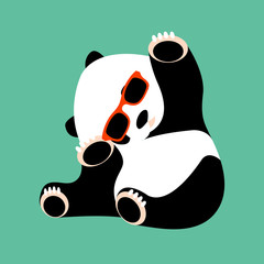 panda face in glasses vector illustration style flat