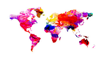 World map painted with watercolor isolated on white background.