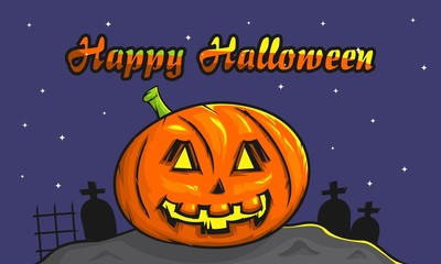 happy halloween background with spooky pumpkin vector illustration for invitation card, celebration card, greeting card