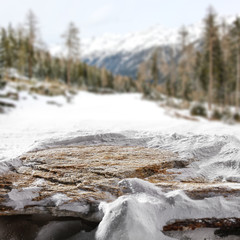 stone background and snow