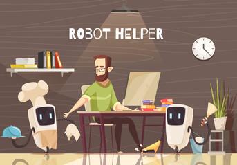 Robotic Assistance Devices Cartoon Illustration