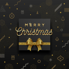 Christmas holiday design - golden greeting and glitter gold bow on a abstract christmas background. Vector illustration.