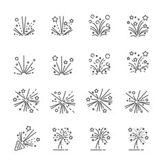 firework line icon set 2, vector eps10