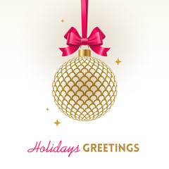 Christmas greeting card - ornate Christmas glitter gold ball with pink bow on a white background. Vector illustration
