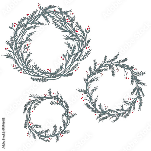 Christmas Wreath Silhouette Free.Vector Set Of Silhouette Christmas Wreath Frames Stock