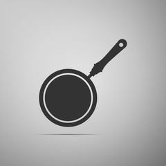 Frying pan icon isolated on grey background. Flat design. Vector Illustration