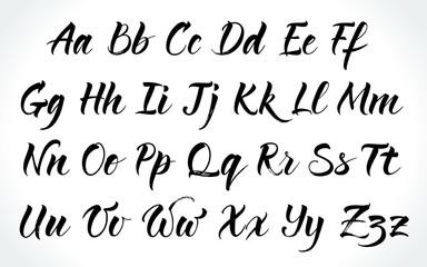 Brushpen lettering vector alphabet. Modern calligraphy, handwritten letters