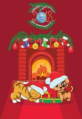 Векторное новогоднее изображение украшенный камин, собака и кот с подарками