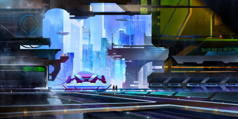 drawn is a fantastic city of the future. landscape with a spaceport in the style of cyberpunk.
