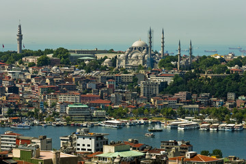 Overview of the mosque of Hagia Sophia in Istanbul