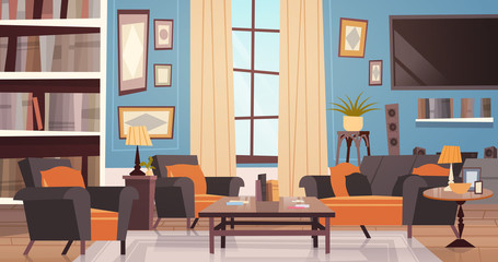 Cozy Living Room Interior Design With Modern Furniture, Window, Sofa, Table Armchairs, Bookcase And Tv Flat Vector Illustration