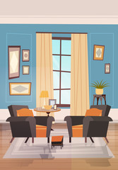 Cozy Living Room Interior Design With Modern Furniture, Armchairs Near Small Tabel And Window Flat Vector Illustration