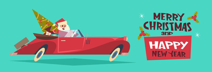 Merry Christmas And Happy New Year Poster Background Santa Driving Retro Car With Green Tree And Presents Horizontal Banner Flat Vector Illustration